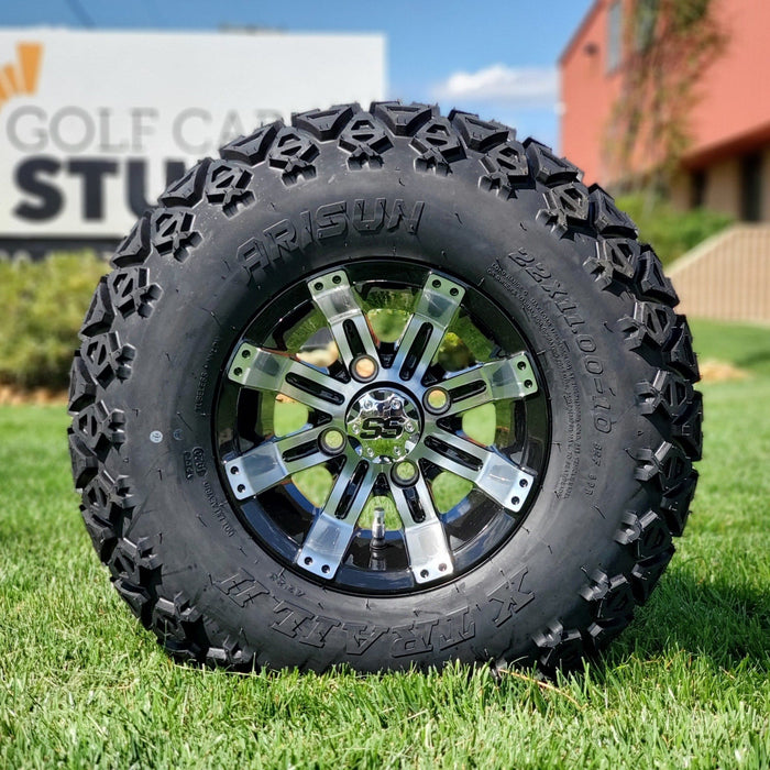 "10"" Storm off-road golf cart wheel and tire combo set with 22"" off road tires."