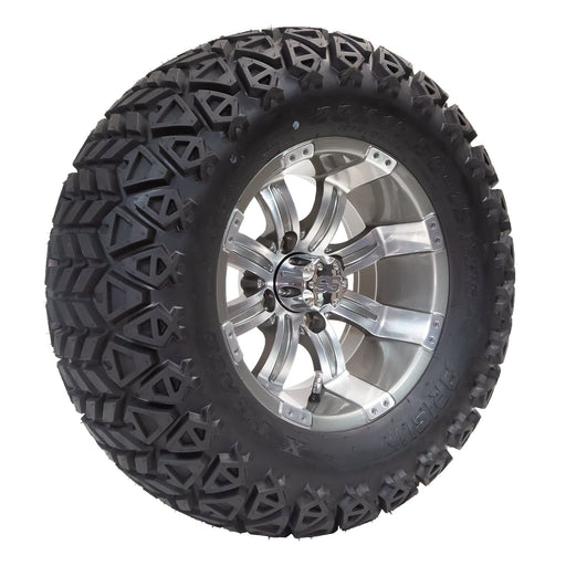"Angled view of 12"" Storm or Tempest off-road golf cart wheel and tire combo set with 23"" off road tires in gunmetal finish."