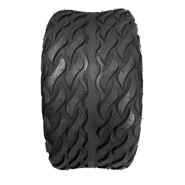 Tread pattern feature of Lightning golf cart hybrid tire.