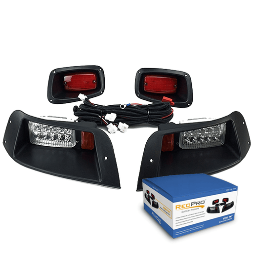 Photo featuring EZGO TXT basic LED light kit with headlights, tail lights, wiring harness, and box.