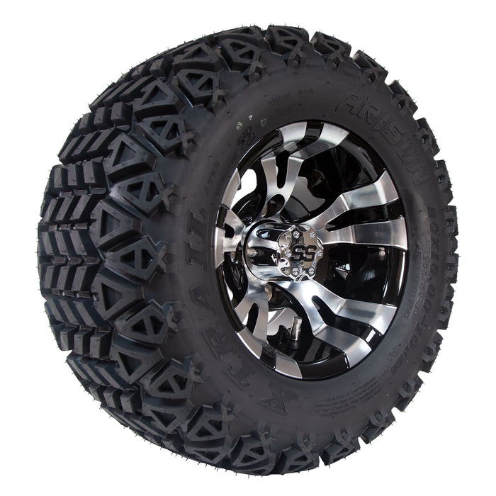 "Angled view of 10"" Vampire in black and machined aluminum off-road golf cart wheel and tire combo set with 20"" off road tires."
