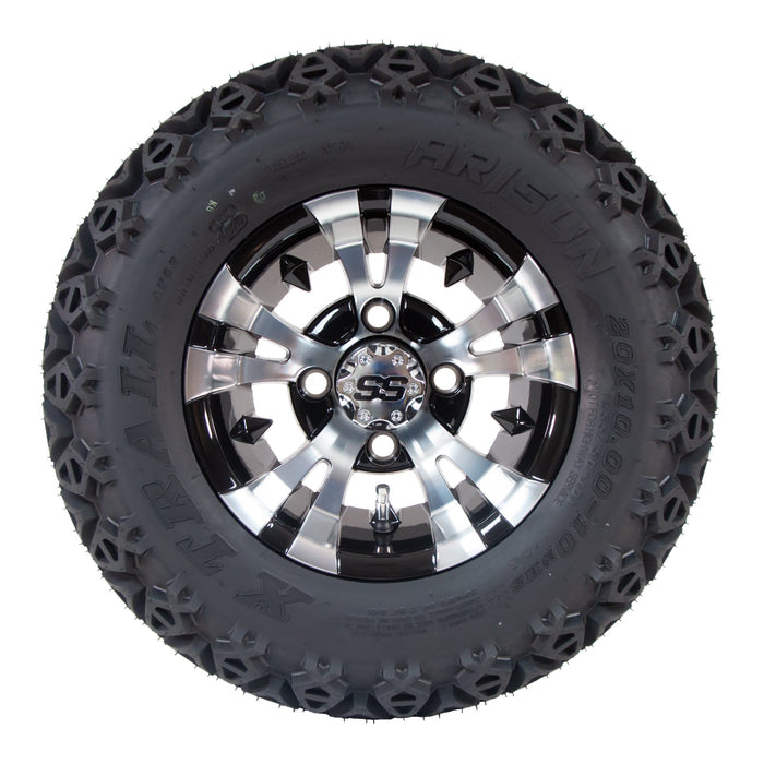 "10"" Vampire off-road golf cart wheel and tire combo set with 20"" off road tires."