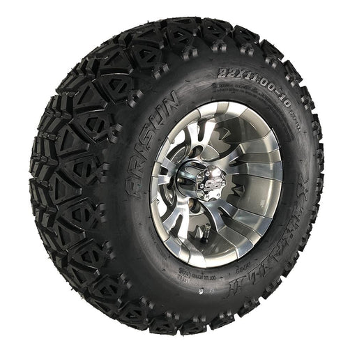 "Angled view of 10"" Vampire Gunmetal off-road golf cart wheel and tire combo set with 22"" off road tires."