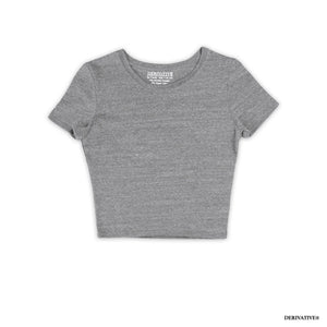 heather grey cute comfortable women's crop top t shirt shirts