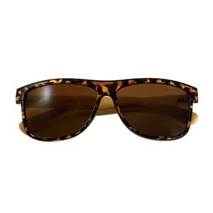 unisex tortoiseshell bamboo wood arm sunglasses for men & women