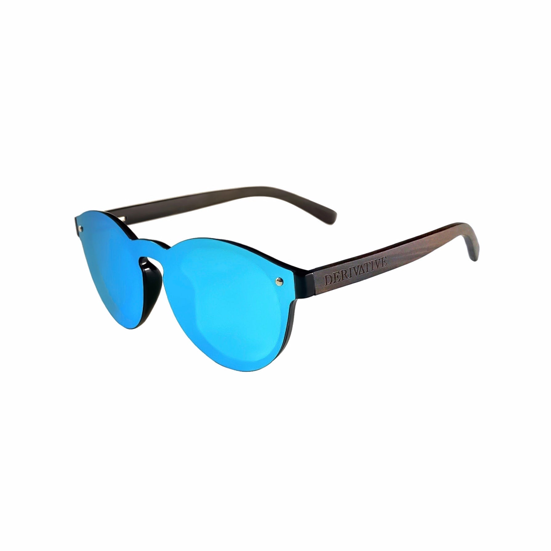 Blue round rimless sunglasses by derivative