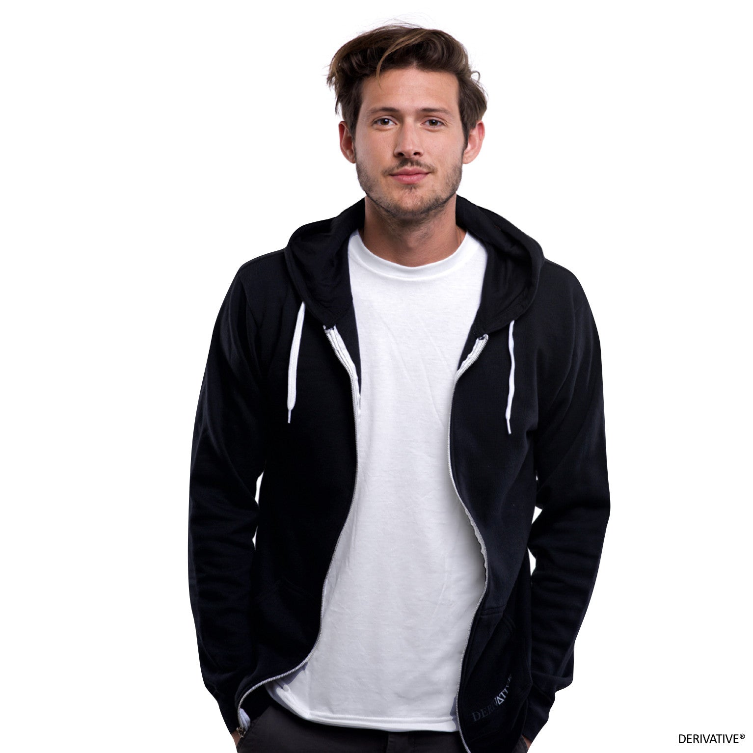 4c1e043c Organic Cotton & Recycled Polyester Zip Up Hoodie - Black