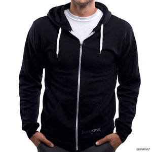 Derivative black zip hoodie for men & women, ethical eco friendly clothing companies & brands