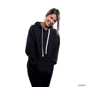 Shanley McIntee in sustainable style wearing Derivative recycled pullover hoodie.