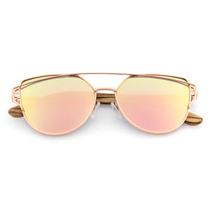 mirrored rose gold cat eye sunglasses