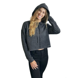 Model Rachel Todd in Derivative Cute Cropped Hoodie