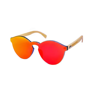 Red infinity lens frameless polarized sunglasses