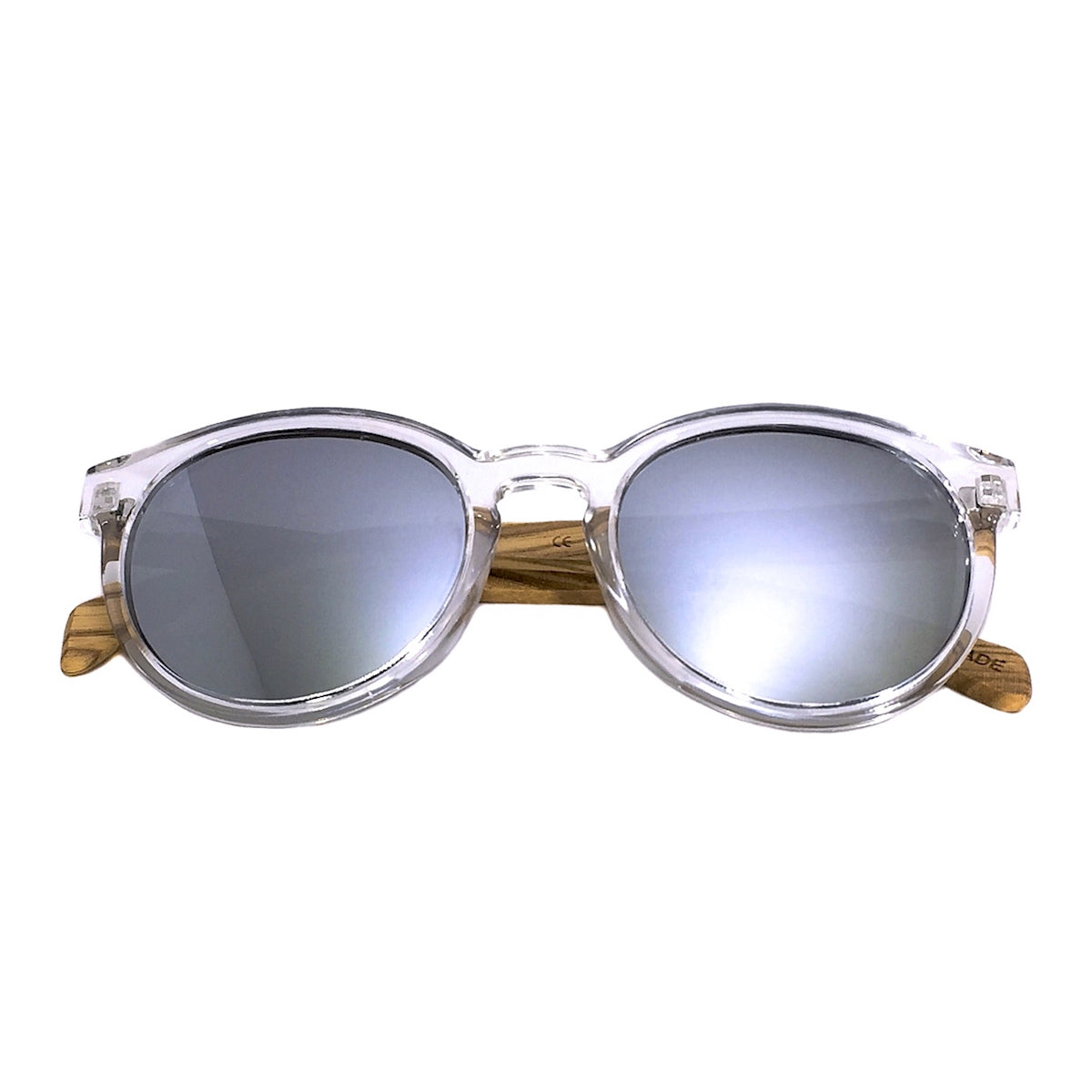 f1777989efc0 Clear Frame Polarized Mirror Sunglasses with Contrasting Wood ...
