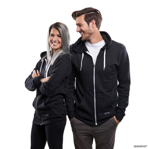 shanley mcintee & cameron kolbo derivatives eco friendly black hoodies, men's & women's recycled hoodies and apparel, eco friendly fashion