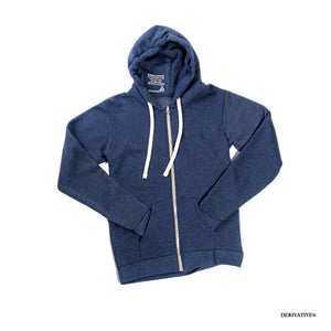 eco friendly navy heather hoodie from recycled materials and organic cotton