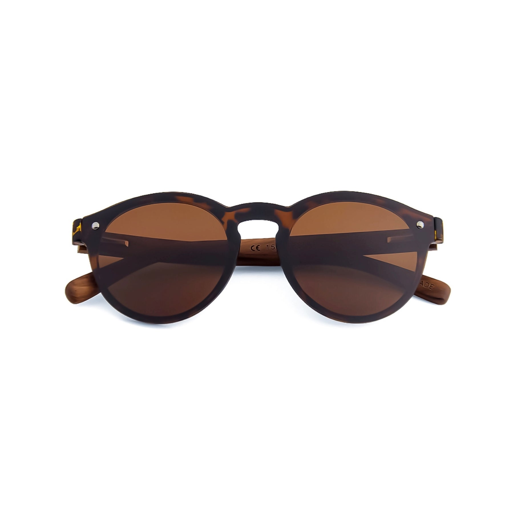 Round Tortoise Shell Beatnick Polarized Bamboo Wooden Sunglasses by Derivative