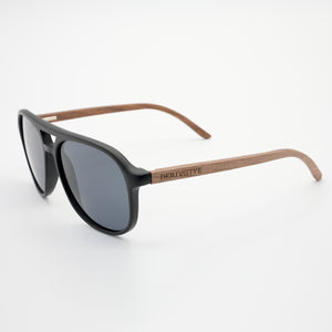 Black Polarized Wood Aviator Sunglasses