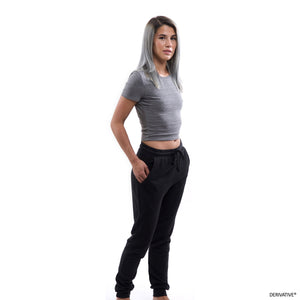 Shanley McIntee in derivative slim fit joggers, womens joggers made from recycled plastic bottles & organic cotton