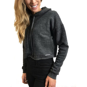 womens organic cotton and recycled polyester tri blend cropped hoodie