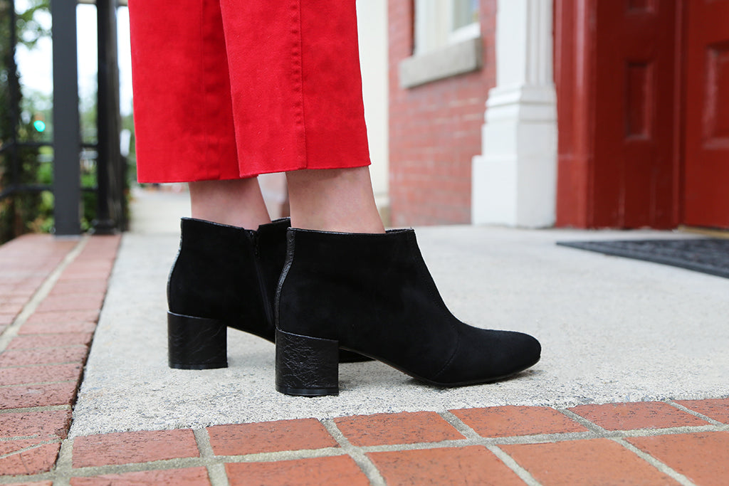 Inspired by the 60s, the Toung in Cheek booties are the essence of mod style.