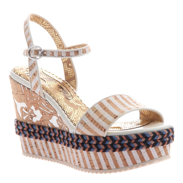 Poetic Licence, European Wishes, White, Cork wedge with ankle strap