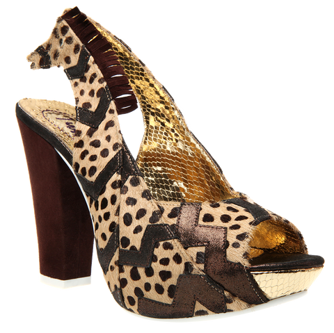 Irregular Choice, Green Fly, Beige Black, Platform Heel