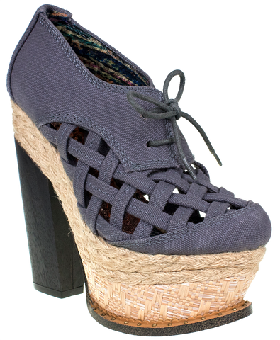 Irregular Choice, Cupids Sun Hat, Grey, Platform heel with laces