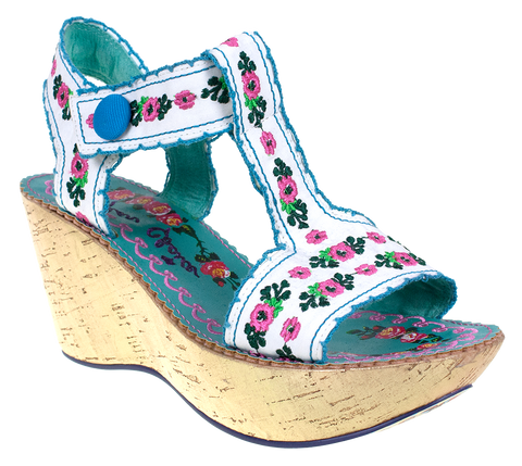 Irregular Choice, Once in a Blue Moon, White, Wedge with ankle strap