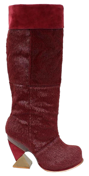 Irregular Choice, Wills and Kate, Red Pony, Tall platform boot with square heel