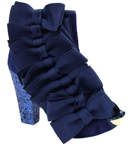 Irregular Choice, Beaujoe, Navy, Glitter platform bootie with side bows