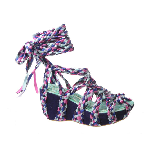 Irregular Choice, Mish and Mash, Purple Multi, Lace up wedge
