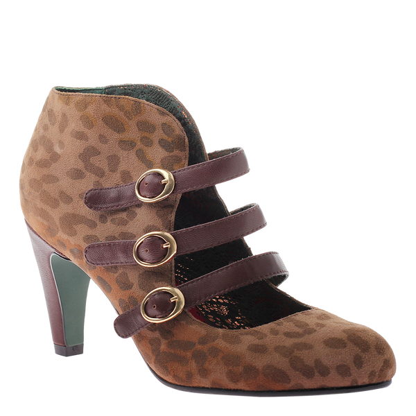 Poetic Licence, Talk the Talk, Dark Taupe, Heel with three front buckle straps