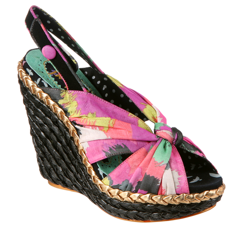 Irregular Choice, Amys Lasagne, Black, Fabric slingback wedge
