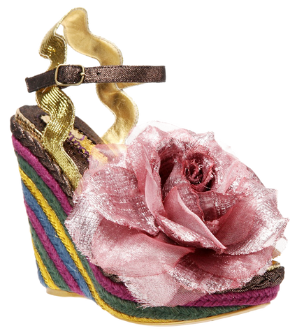 Irregular Choice, Weaver, Gold, Wedge with flower
