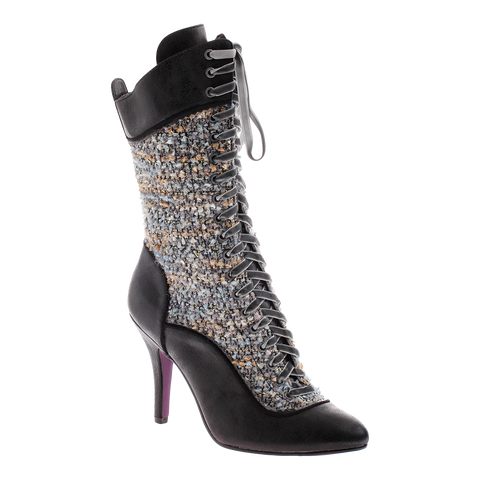Poetic Licence, Go Bananas, Black, Lace up boot with high heel