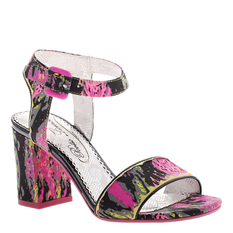Poetic Licence, Bay Breeze, Fushia Black, Square heel sandal with ankle strap and buckle