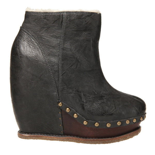 Irregular Choice, Sugar N Candy, Grey, leather studded wedge bootie