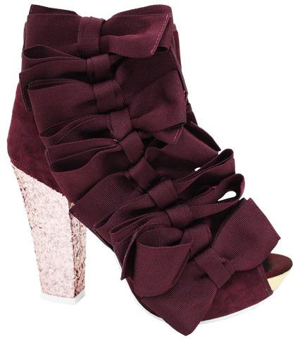 Irregular Choice, Beaujoe, Purple, Glitter platform bootie with side bows