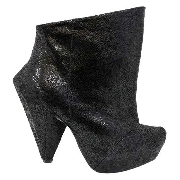 Irregular Choice, Anna Bells Trolley, Black Leather, Spiked bootie