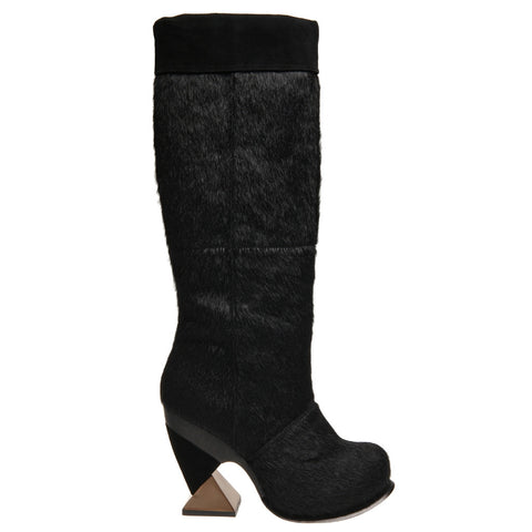 Irregular Choice, Wills and Kate, Black Pony, Tall platform boot with square heel
