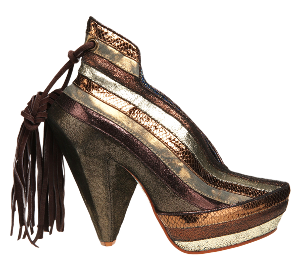 Irregular Choice, Half Eaten Apple, Bronze Gold, Spike heel