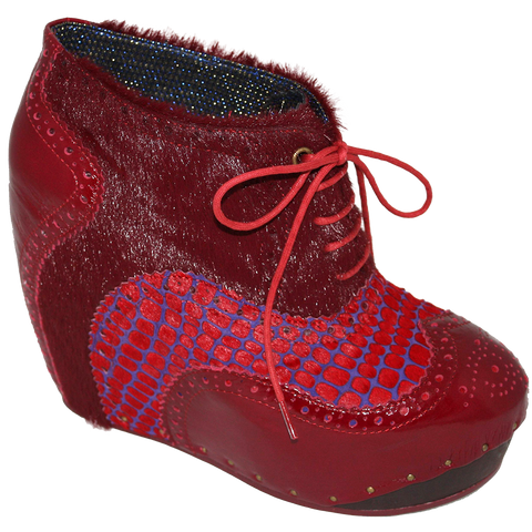 Irregular Choice, What an Angel, Red, Lace up wedge bootie