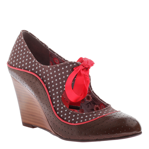 Poetic Licence, Brightly Beaming, New Chestnut, Vintage wedge with satin laces
