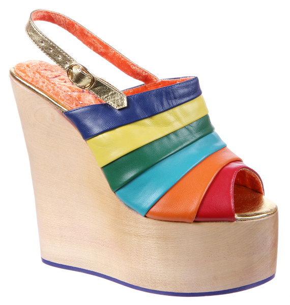 Irregular Choice, Chica Chola, Rainbow, Sling back wedge