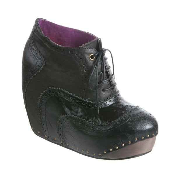 Irregular Choice, What an Angel, Black, Lace up wedge bootie