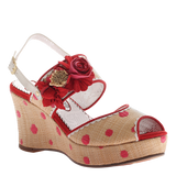Poetic Licence, Passing Time, Red, Wedge with ankle strap