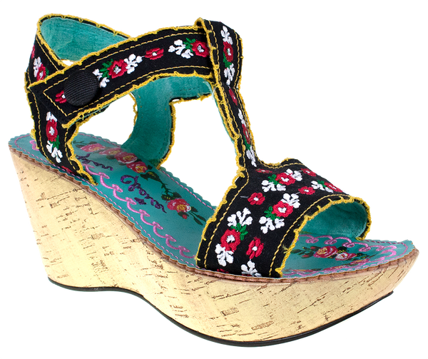 Irregular Choice, Once in a Blue Moon, Black, Wedge with ankle strap