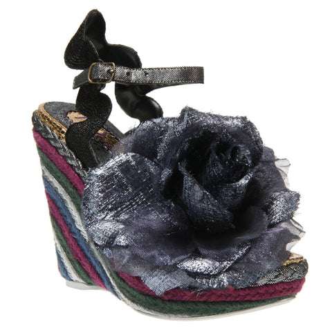 Irregular Choice, Weaver, Black, Flower Wedge