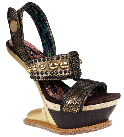 Irregular Choice, Enchantment, Gold, Heelless heel