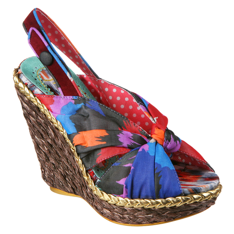 Irregular Choice, Amys Lasagne, Tan Green, Fabric slingback wedge